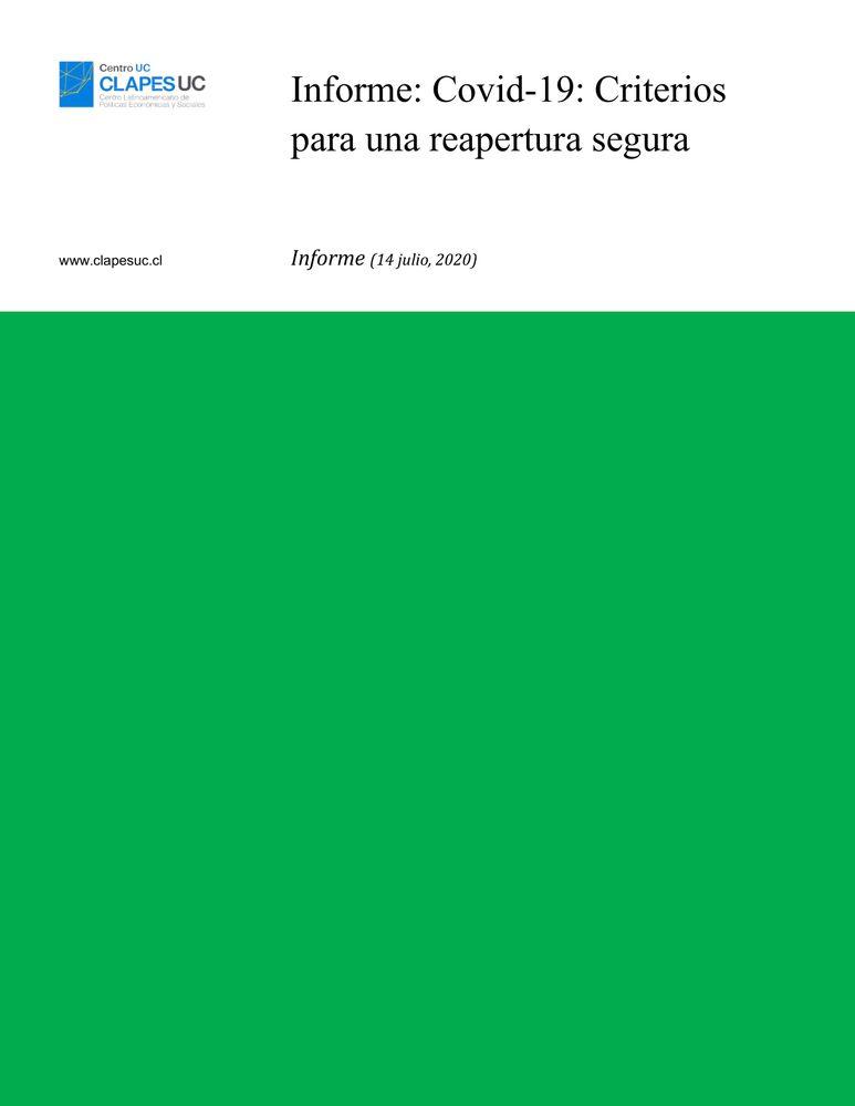 Informe: Covid-19: Criterios para una reapertura segura (14 julio 2020)